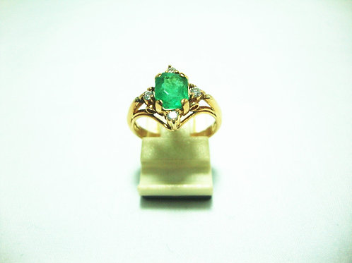 18K GOLD DIA EMERALD RING 4/8P
