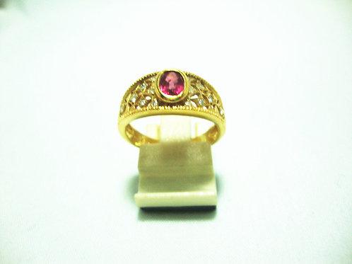 20K GOLD DIA RUBY RING 14/14P