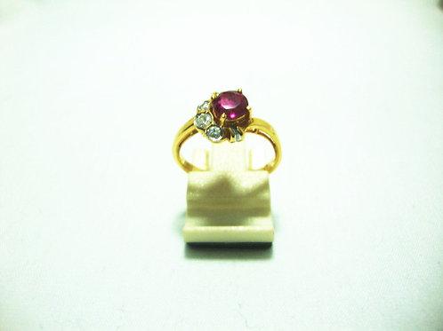 20K GOLD DIA RUBY RING 8P