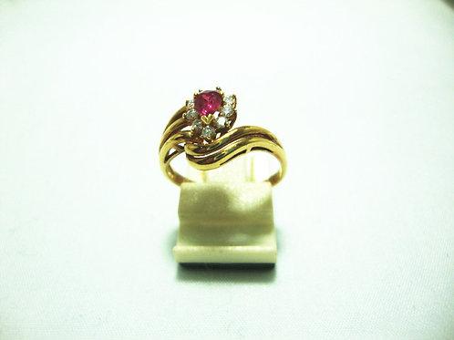18K GOLD DIA RUBY RING 18P