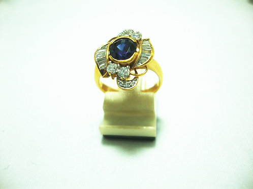 916 GOLD DIA SAPPHIRE RING 65P