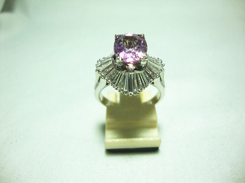14K WHITE GOLD DIA STONE RING 36/72P ( PINK SAPPHIRE 3 CARAT / CERT )