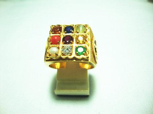 916 GOLD DIA GEM STONE RING 1/20P