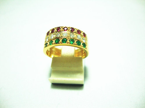 18K GOLD DIA GEM STONE RING 35P