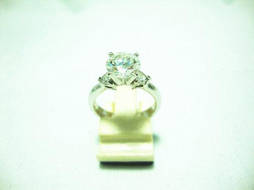 18K WHITE GOLD DIA RING 1/1.54CT 2/60P( CERT )