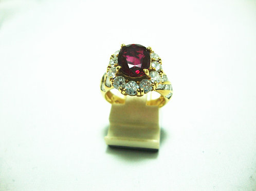 18K GOLD DIA RUBY RING 11/165P 18/18P ( 2.45CT / CERT )
