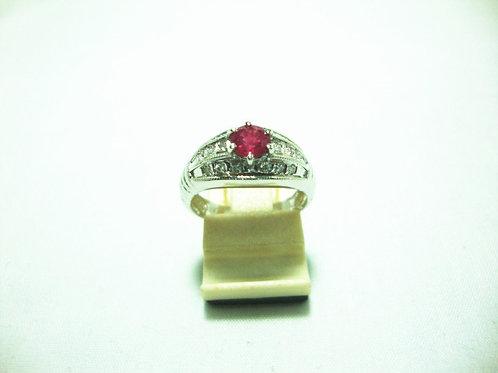 20K WHITE GOLD DIA RUBY RING 18/18P