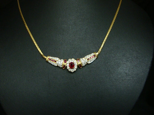 18K GOLD DIA RUBY NECKLACE 85P
