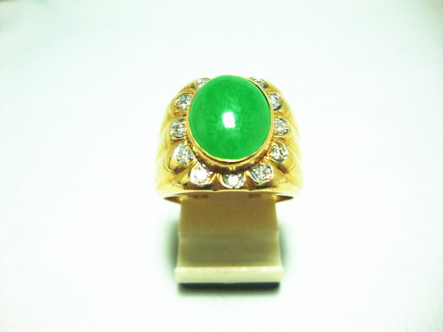 20K GOLD DIA JADE RING 12/60P