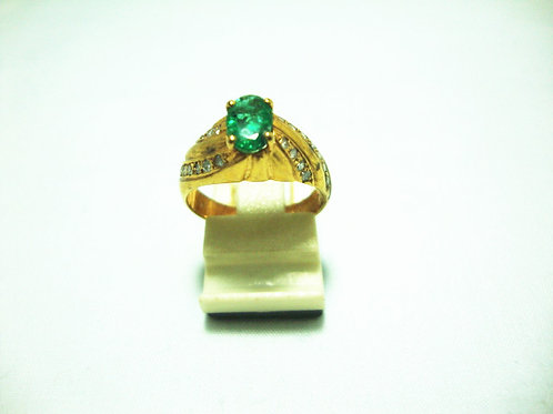 9K GOLD DIA EMERALD RING 22P