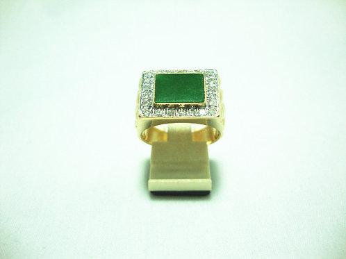 18K GOLD DIA JADE RING 22/88P