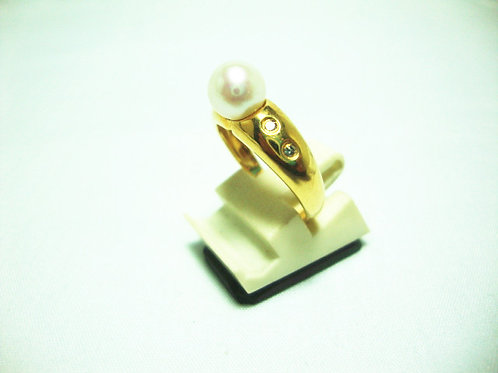 18K GOLD DIA PEARL RING 4/4P