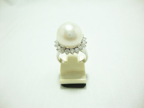 18K WHITE GOLD DIA PEARL RING 18/180P