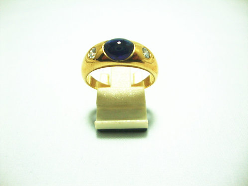 18K GOLD DIA SAPPHIRE RING 2/18P