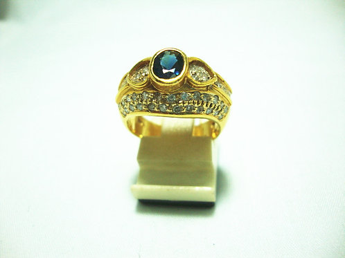18K GOLD DIA SAPPHIRE RING 35P