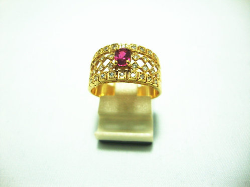 18K GOLD DIA RUBY RING 35P