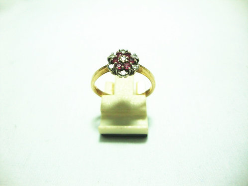 9K GOLD DIA RUBY RING