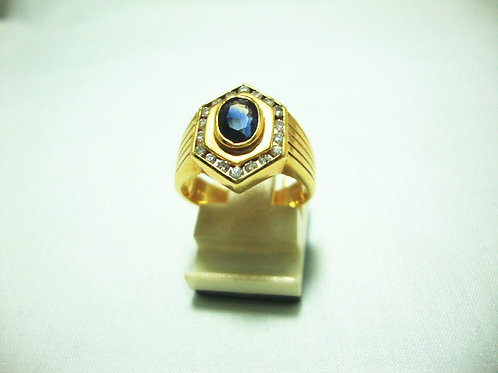 18K GOLD DIA SAPPHIRE RING 38P