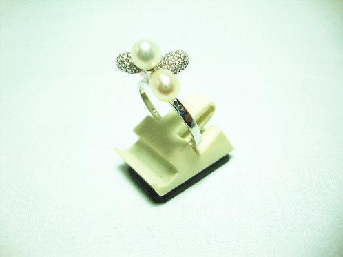 18K WHITE GOLD DIA PEARL RING 16/16P