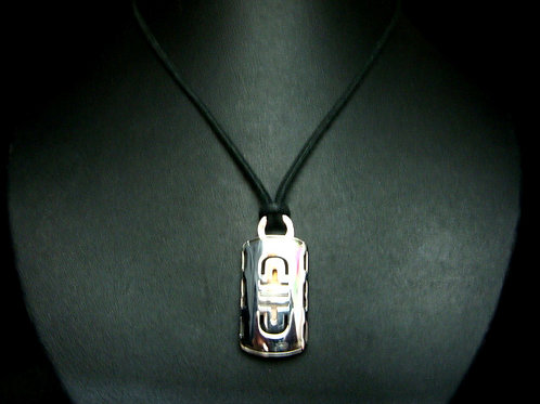 18K WHITE GOLD PENDANT WITH STRING NECKLACE