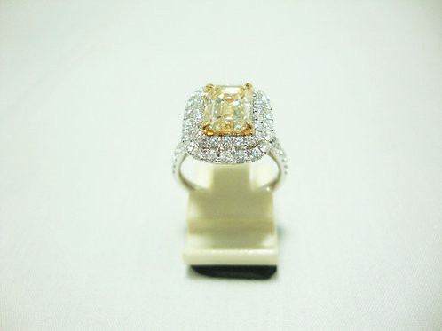 18K WHITE GOLD DIA RING 1/212P 68/136P U-V COLOR VS ( CERT )2