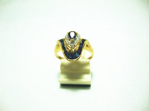 18K GOLD DIA SAPPHIRE RING 10/10P