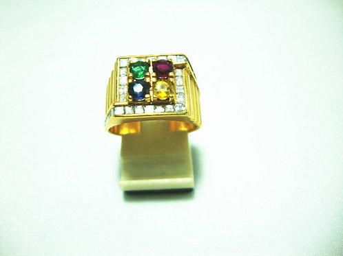20K GOLD DIA GEM STOE RING 100P