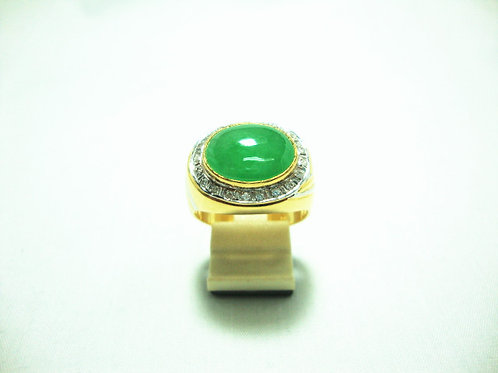 916 GOLD DIA JADE RING 20/40P