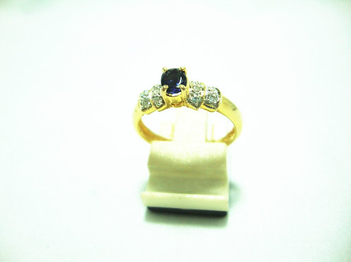 18K GOLD DIA SAPPHIRE RING 10/20P
