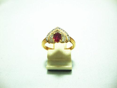 18K GOLD DIA RUBY RING 30P