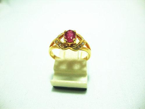 18K GOLD DIA RUBY RING 8P
