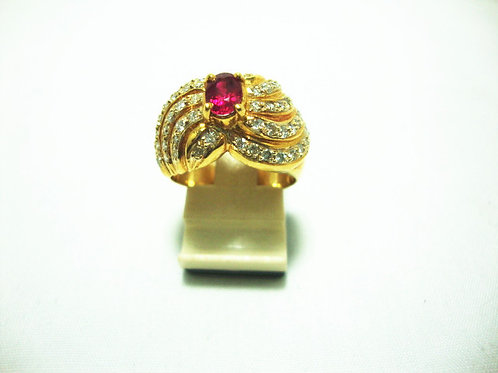 18K GOLD DIA RUBY RING 60/60P