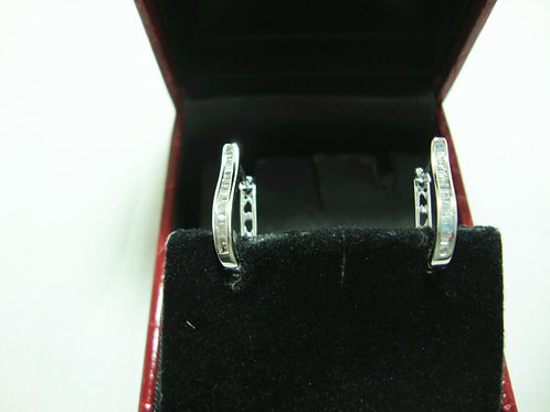 18K WHITE GOLD DIA EARRING 30/15P