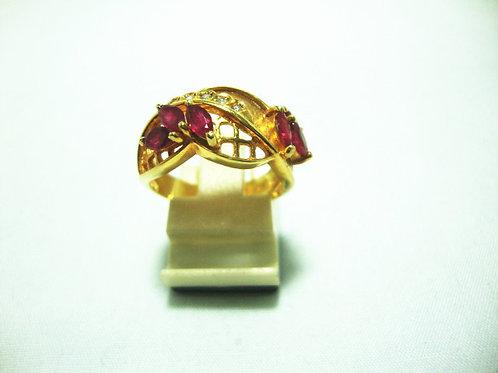 14K GOLD DIA RUBY RING 9/9P