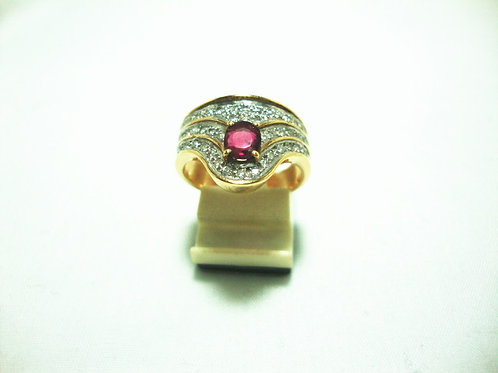 14K GOLD DIA RUBY RING 45P