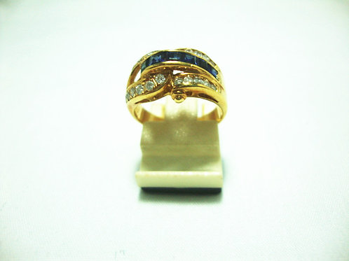 20K GOLD DIA SAPPHIRE RING 35P