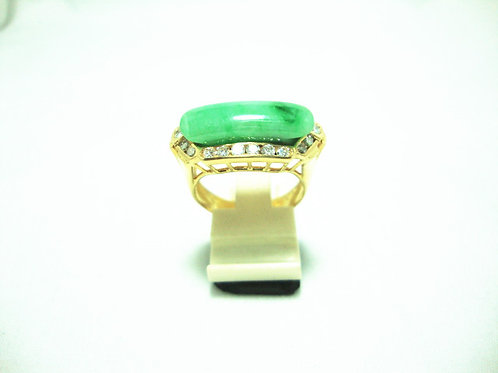 20K GOLD DIA JADE RING 2/12P 20/80P