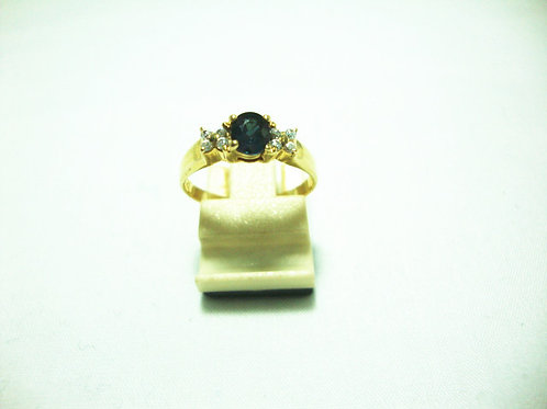 14K GOLD DIA SAPPHIRE RING 8/8P