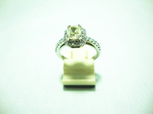 14K WHITE GOLD DIA RING 1/1.01CT 32/40P ( CERT )