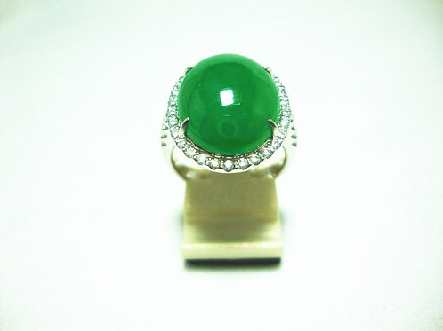 18K WHITE GOLD DIA JADE RING 2/2P 2/2P 34/68P ( CERT )