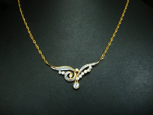 18K GOLD DIA NECKLACE 1/20P 10/20P 21/21P