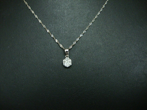 18K WHITE GOLD DIA NECKLACE 1/4P 6/8P
