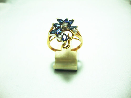 18K GOLD DIA SAPPHIRE RING 10P