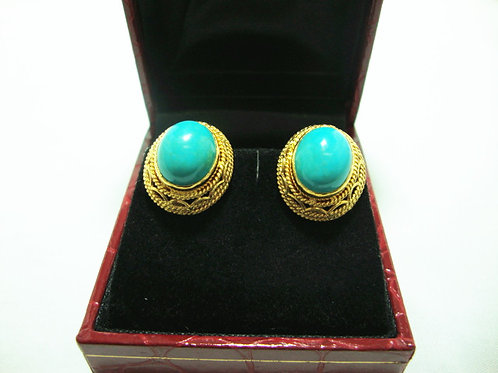 916 GOLD STONE EARRING
