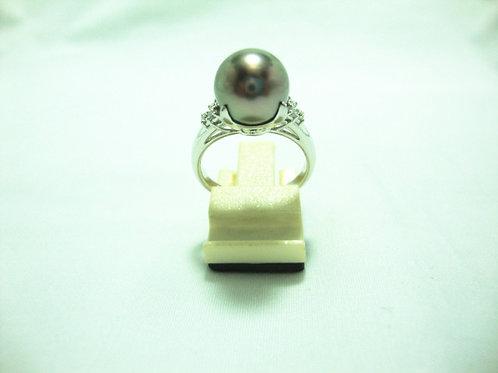 PT900 WHITE GOLD DIA PEARL RING 6/18P