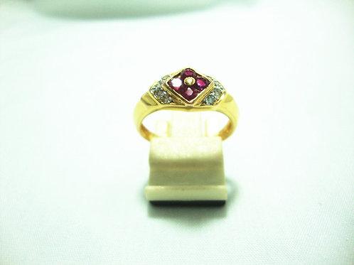 916 GOLD DIA RUBY RING 8/16P