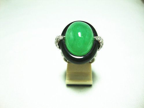 18K WHITE GOLD DIA JADE RING 96/192P 8/32P ( CERT )