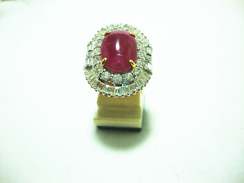 20K GOLD DIA RUBY RING T30/50P 3/6P 16/80P