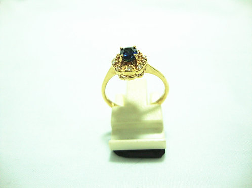 18K GOLD DIA SAPPHIRE RING 10/10P