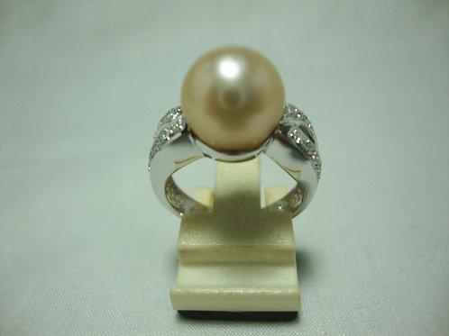 18K WHITE GOLD DIA PEARL RING 20/40P